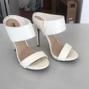 White backless heels